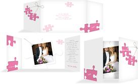 Dankeskarte Puzzleteile - Pink (K39)