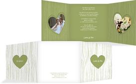 Hochzeits Einladungskarte heart bark - Grün (K23)