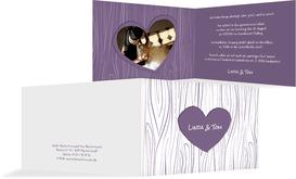 Hochzeits Einladungskarte heart bark - Lila (K19)
