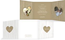 Hochzeits Dankeskarte heart bark - Braun (K23)