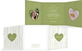 Hochzeits Dankeskarte heart bark - Grün (K23)
