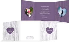 Hochzeits Dankeskarte heart bark - Lila (K23)