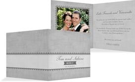Hochzeitskarte Vintage Spitzenbordüre - Grau (K24)