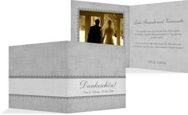 Dankeskarte Vintage Spitzenbordüre - Grau (K24)