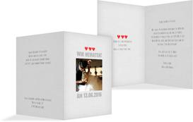 Hochzeitskarte Vintage Herzen - Weiß (K20)