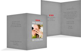 Hochzeitskarte Vintage Herzen - Grau (K20)