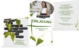 Einladungskarte Konfirmation Efeu - Weiß (K24)