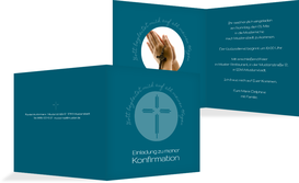Konfirmationseinladung Gottes Wege - Türkis (K24)