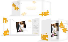 Einladungskarte Puzzleteile - Gelb (K39)