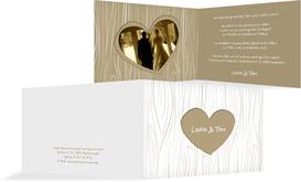 Hochzeits Einladungskarte heart bark - Braun (K19)