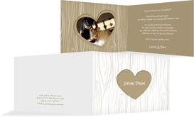 Hochzeits Dankeskarte heart bark - Braun (K19)