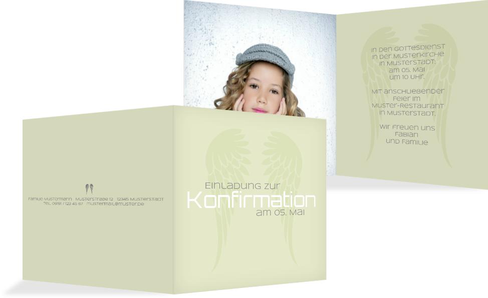 Konfirmationseinladung Schutzengel   Grün (K24)