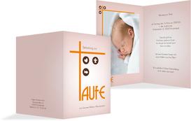 Einladung zur Taufe Taufkreuz - Orange (K20)