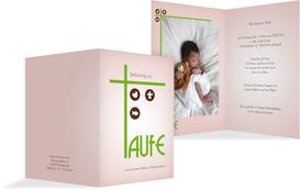 Einladung zur Taufe Taufkreuz - Grün (K20)