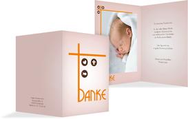 Danksagungskarte zur Taufe Taufkreuz - Orange (K20)