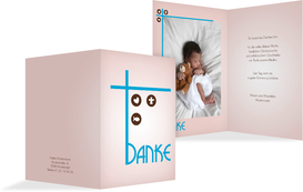 Danksagungskarte zur Taufe Taufkreuz - Blau (K20)