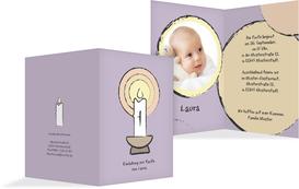 Einladungskarte Taufe Kerzenschein - Lila (K20)