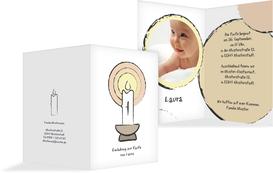 Einladungskarte Taufe Kerzenschein   Weiß (K20)