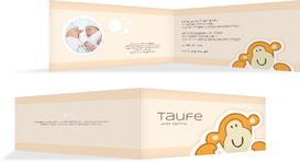 Taufkarte Einladung Aeffchen - Orange (K33)