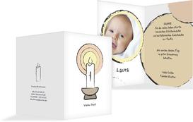 Dankeskarte Taufe Kerzenschein - Weiß (K20)