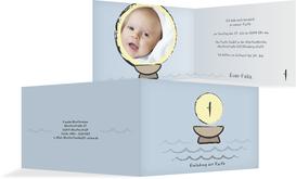 Einladungskarte Taufe Taufbecken - Hellblau (K19)