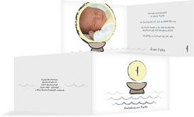 Einladungskarte Taufe Taufbecken - Weiß (K19)