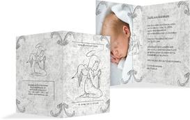 Einladung Zur Taufe Relief Engelchen   Grau (K20)