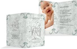 Einladung zur Taufe Relief-Engelchen - Türkis (K20)