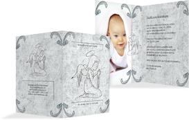 Einladung zur Taufe Relief-Engelchen - Blau (K20)