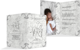 Dankeskarte Taufe Relief-Engelchen - Grau (K20)