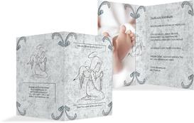 Dankeskarte Taufe Relief-Engelchen - Blau (K20)