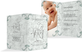 Dankeskarte Taufe Relief-Engelchen - Türkis (K20)