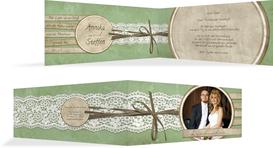 Hochzeitskarte Danke Vintage Lace  - Grün (K33)