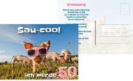 Einladungskarte zum 50. Geburtstag Sau-cool - Pink (K25)