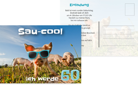 Einladungskarte zum 60. Geburtstag Sau-cool - Türkis (K25)