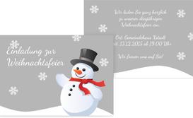 Weihnachtseinladung Schneemann - Grün (K25)