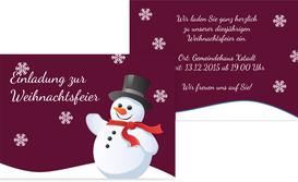 Weihnachtseinladung Schneemann - Rot (K25)