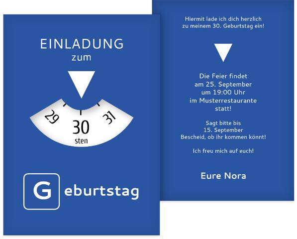 Geburtstagseinladung Parkuhr 30 | Kartenmanufaktur