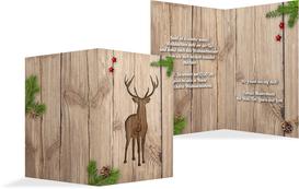 Weihnachts Einladungskarte privat Holztisch - Rot (K20)
