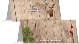 Weihnachts Tischkarte Holztisch - Rot (K32)