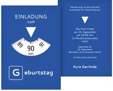 Geburtstagseinladung Parkuhr 90 - Blau (K31)