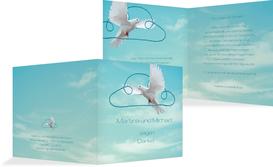 Dankeskarte Hochzeit Auf Wolke sieben - Hellblau (K24)