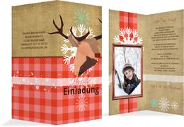 Foto Weihnachtseinladung Hirschkopf  - Rot (K35)