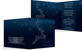 Weihnachtsgrußkarte Schnörkelhirsch - Blau (K24)