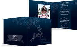 Foto Weihnachtsgrußkarte Schnörkelhirsch - Blau (K24)