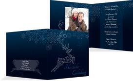 Foto Weihnachtseinladung Schnörkelhirsch - Blau (K24)