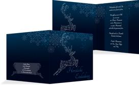 Weihnachtseinladung Schnörkelhirsch - Blau (K24)