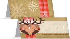 Weihnachtstischkarte Hirschkopf - Rot (K32)