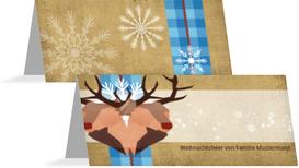 Weihnachtstischkarte Hirschkopf - Blau (K32)