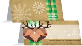 Weihnachtstischkarte Hirschkopf - Grün (K32)